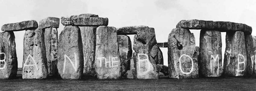 Buy Stonehenge Models: Stonehenge ban the bomb graffiti 1024x365  - Trilithon Two - Trilithon Two