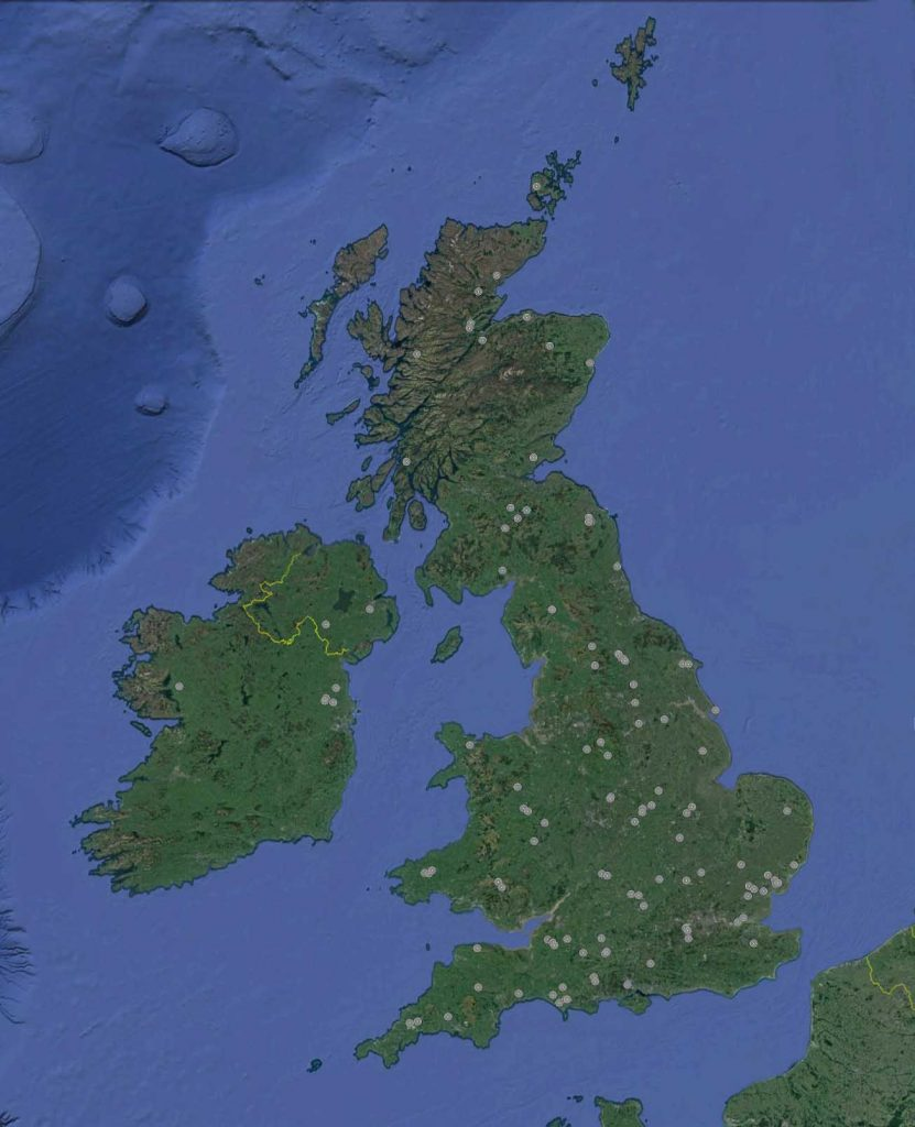 Distribution of henges around Great Britain