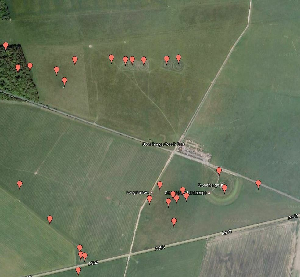 Buy Stonehenge Models: Map of the Cursus Group of round barrows and Stonehenge  - Trilithon Two - Map of the Cursus Group of round barrows and Stonehenge. See a detailed map of barrows in Stonehenge's landscape.