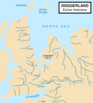Doggerland approximately 11,650 years before present, after the last glacial period