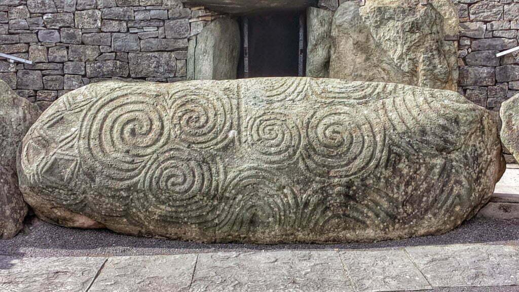 Newgrange entrance stone with megalithic art