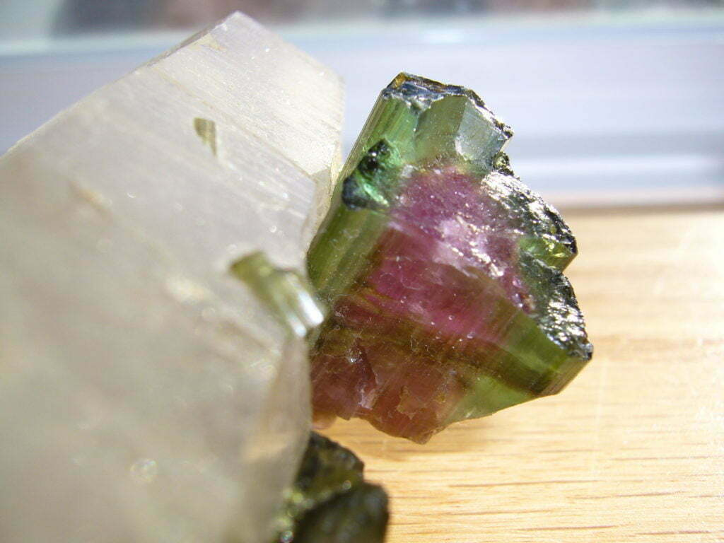 Watermelon Tourmaline mineral on quartz matrix (crystal approximately 2 cm wide at face)