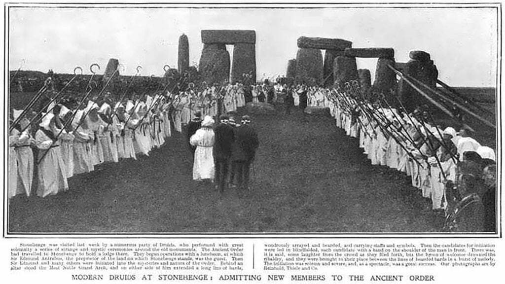 View of Stonehenge with druids