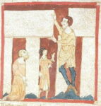 Merlin and a giant. Earliest drawing of Stonehenge