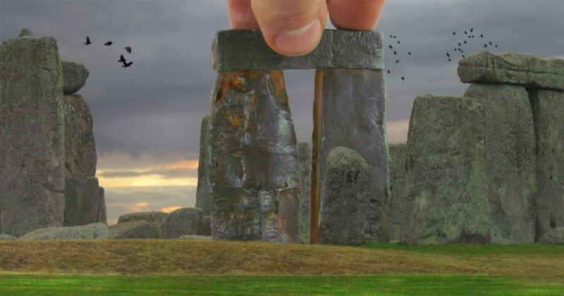 Buy Stonehenge Models: Trilithon Two Stonehenge 76th scale rusty iron cold cast fingers for scale on grass with crows 800x420  - Built by giants - Built by giants