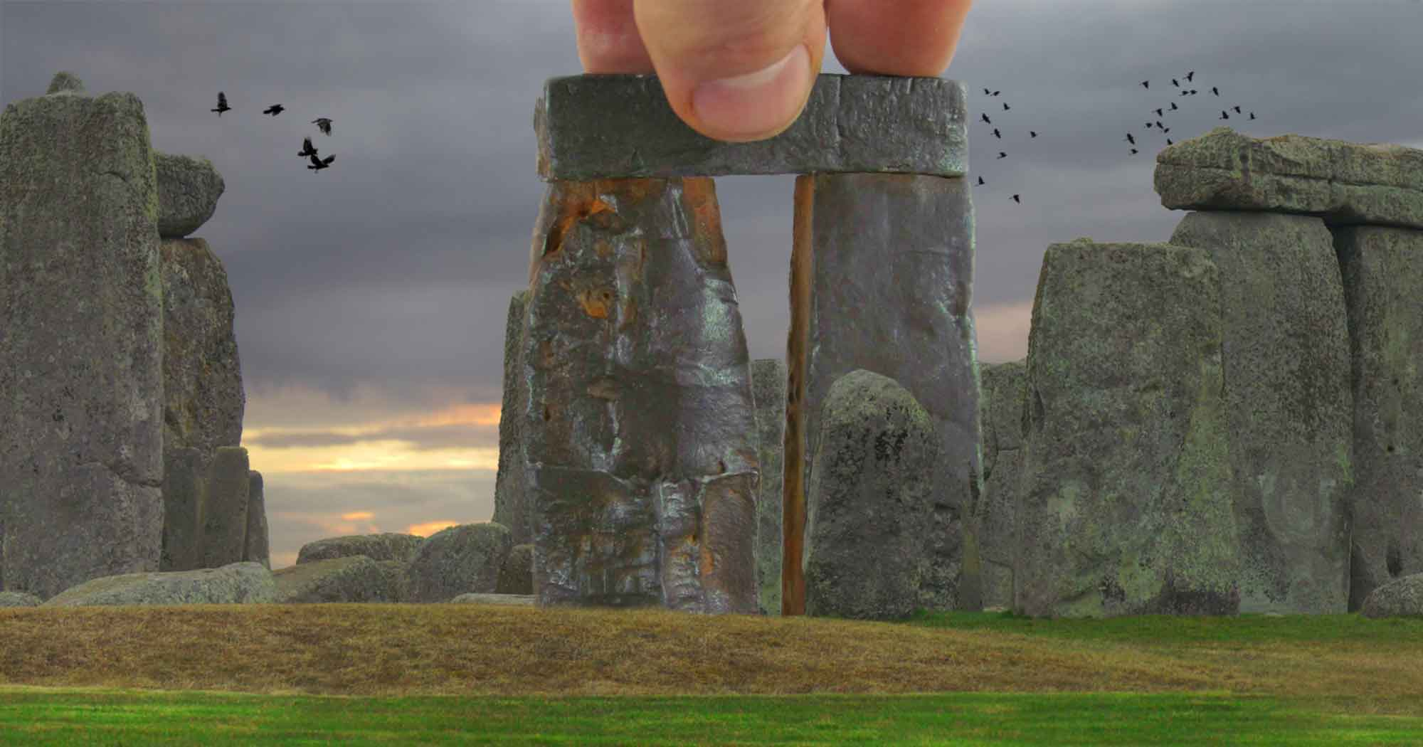 Mock up of Trilithon Two added to Stonehenge panorama