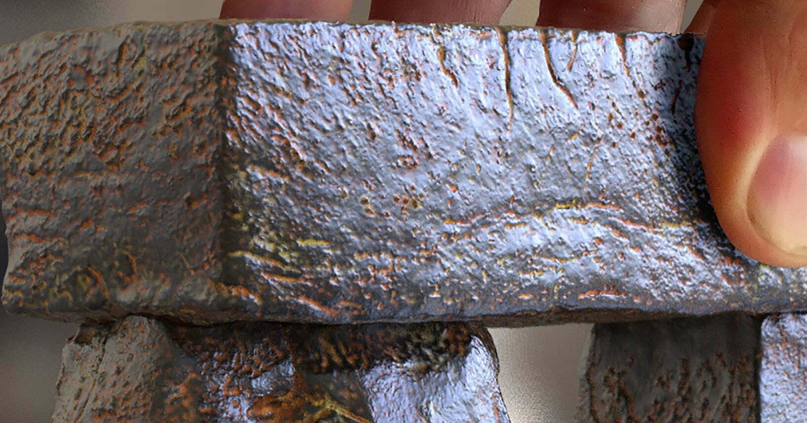 Buy Stonehenge Models: Stonehenge replica model 35th scale full set light rust patina cropped 01  - Close up of Trilithon Two, Stonehenge replica model - Close up of Trilithon Two, Stonehenge replica model