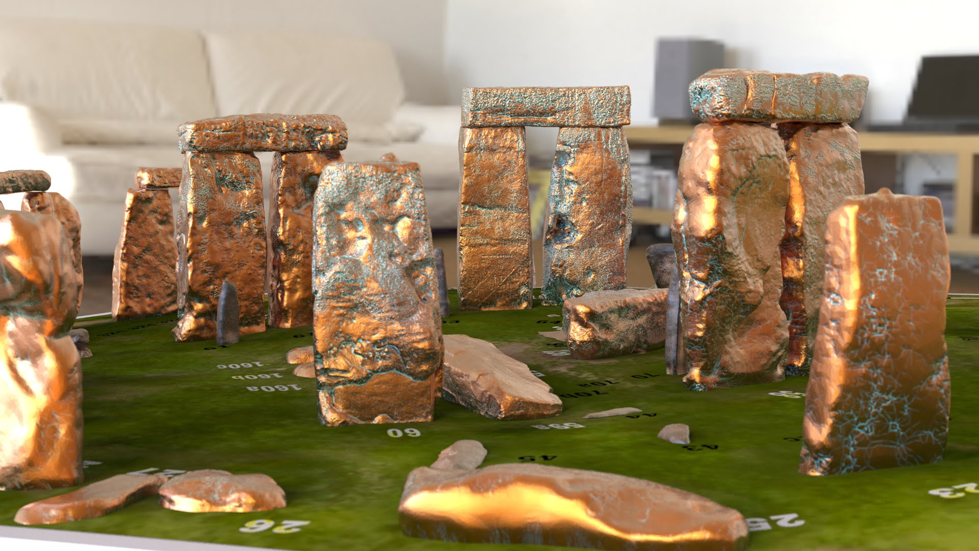 Buy Stonehenge Models: Copper verdigris sarsens with rusted iron bluestones Stonehenge model replica on grass decal bass numbered stones Camera 1.66  - Full set -