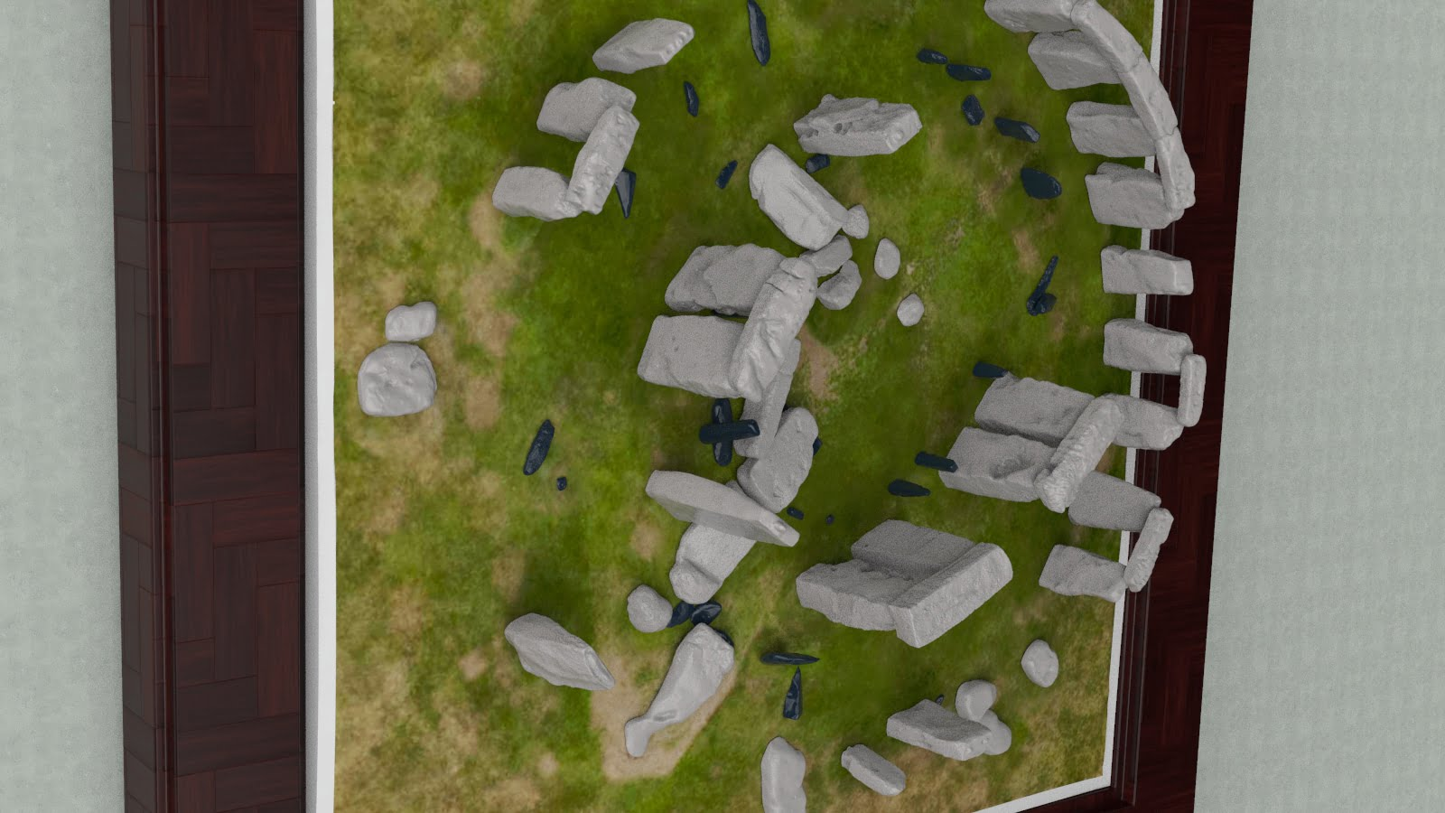 Buy Stonehenge Models: Framed Stonehenge monument model at 200th scale 195 x 195 mm square framed and hung on wall 002  - 200th scale pick n mix -