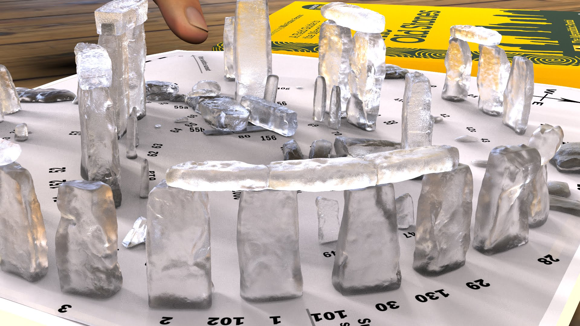 Buy Stonehenge Models: Glass model of Stonehenge accurate and detailed at 200th scale on plain white map 005  - 200th scale pick n mix -