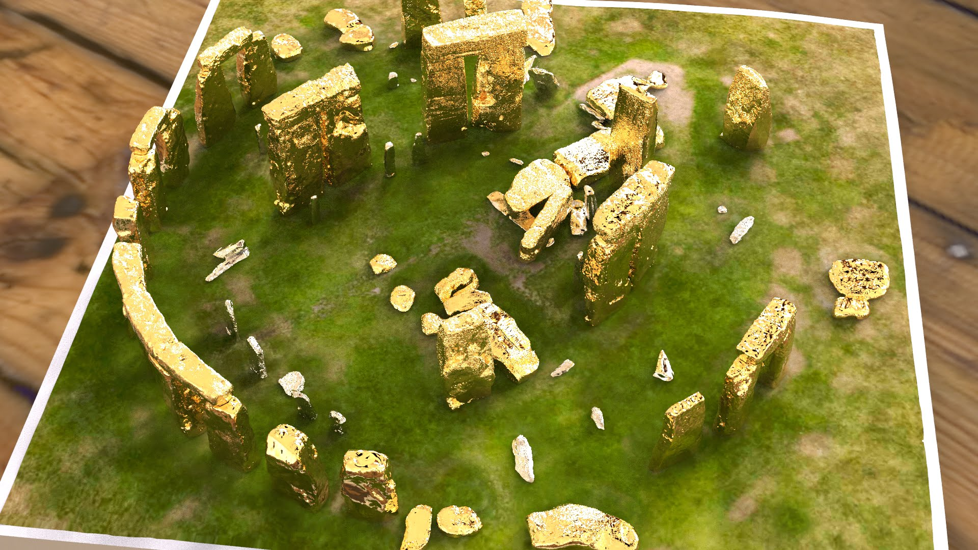 Buy Stonehenge Models: Gold sarsens and silver bluestones accurate and detailed Stonehenge model replica 001  - 200th scale pick n mix -