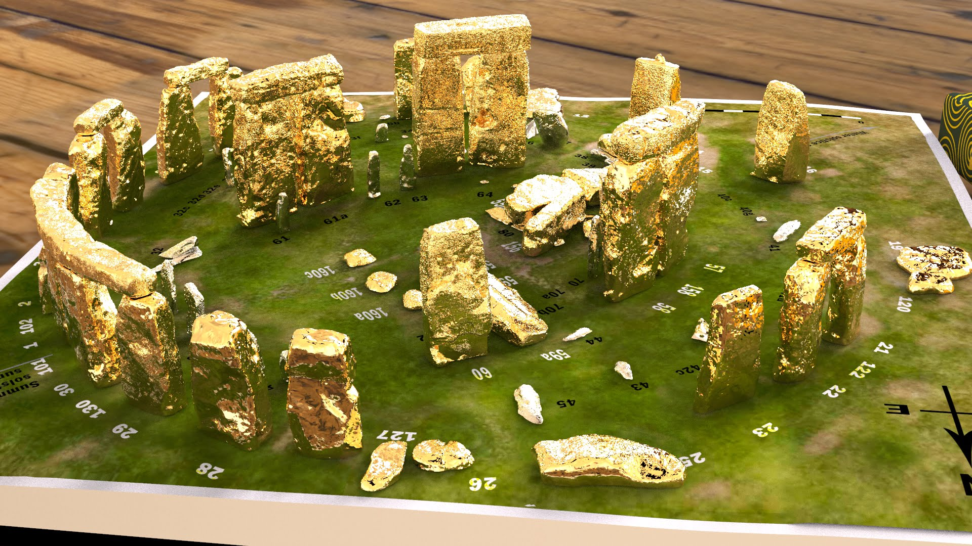 Buy Stonehenge Models: Gold sarsens and silver bluestones accurate and detailed Stonehenge model replica 002  - Full set -