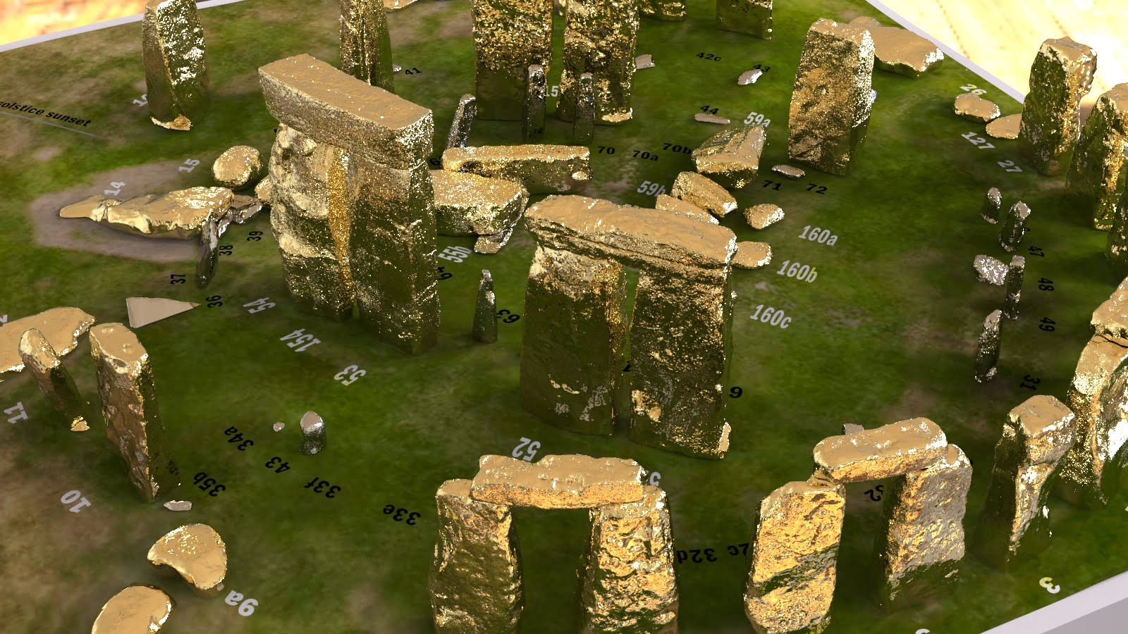 Buy Stonehenge Models: Gold sarsens and silver bluestones accurate and detailed Stonehenge model replica 003  - 200th scale pick n mix -