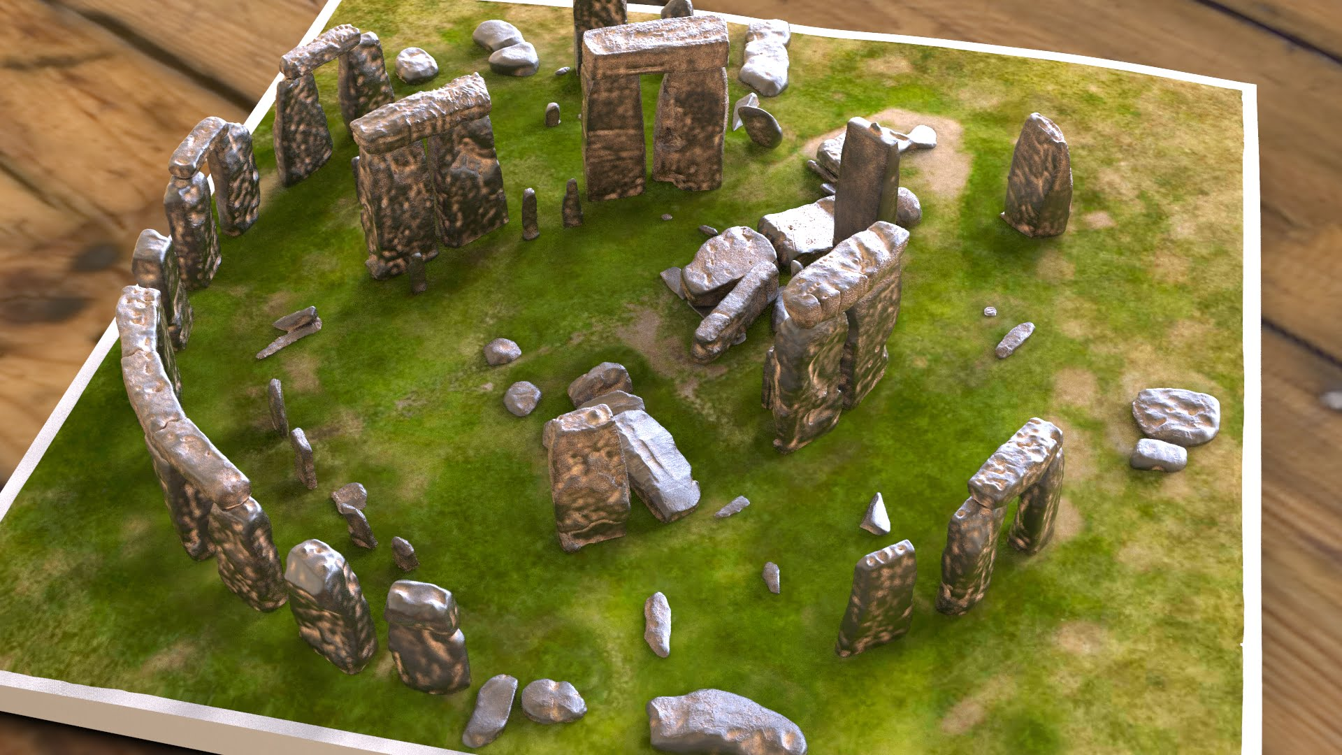 Buy Stonehenge Models: Light rust patina on cold cast Stonehenge model replica 195 x 195 mm or 7.7 x 7.7 inches square base with grass decal with or without numbered stones on ground map 001  - 200th scale pick n mix -