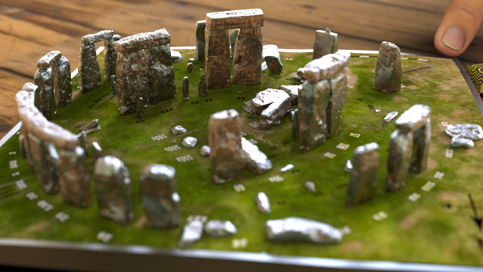 Buy Stonehenge Models: Light rust patina on cold cast Stonehenge model replica 195 x 195 mm or 7.7 x 7.7 inches square base with grass decal with or without numbered stones on ground map 002  - 200th scale pick n mix -