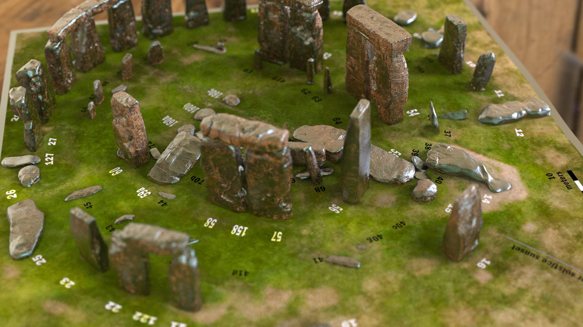 Buy Stonehenge Models: Light rust patina on cold cast Stonehenge model replica 195 x 195 mm or 7.7 x 7.7 inches square base with grass decal with or without numbered stones on ground map 003  - 200th scale pick n mix -