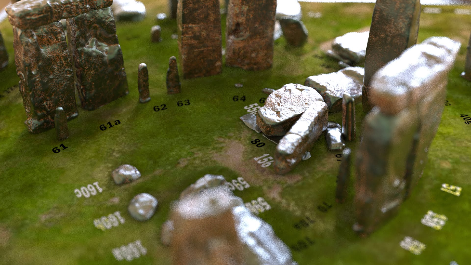 Buy Stonehenge Models: Light rust patina on cold cast Stonehenge model replica 195 x 195 mm or 7.7 x 7.7 inches square base with grass decal with or without numbered stones on ground map 004  - 200th scale pick n mix -