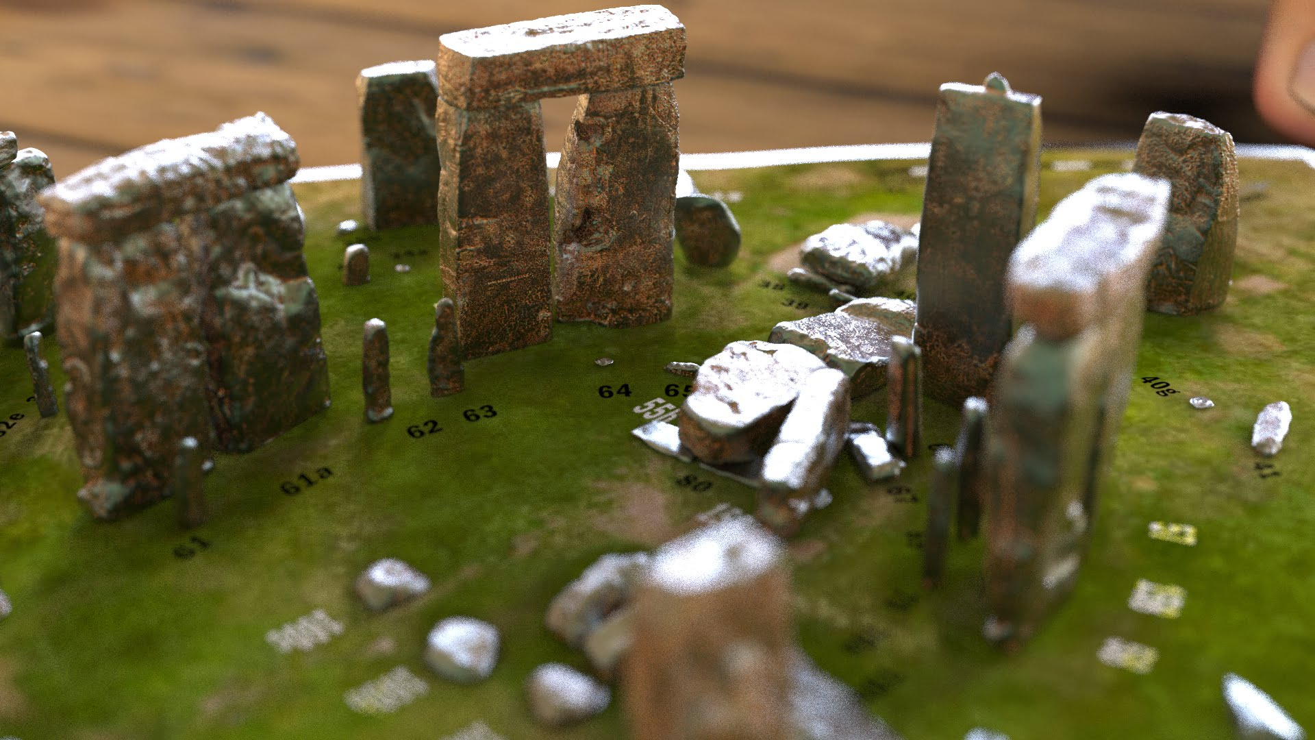 Buy Stonehenge Models: Light rust patina on cold cast Stonehenge model replica 195 x 195 mm or 7.7 x 7.7 inches square base with grass decal with or without numbered stones on ground map 005  - Full set -