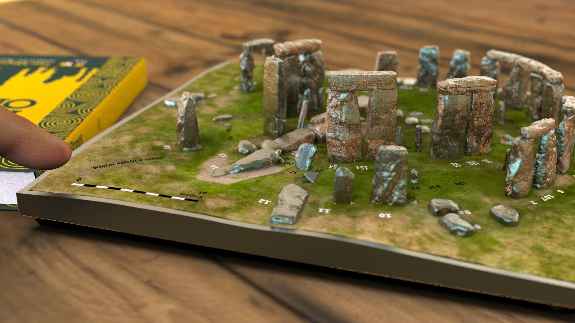 Buy Stonehenge Models: Light rust patina on cold cast Stonehenge model replica 195 x 195 mm or 7.7 x 7.7 inches square base with grass decal with or without numbered stones on ground map 008  - 200th scale pick n mix -
