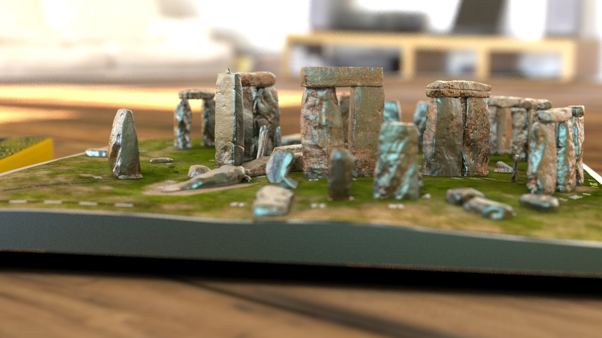 Buy Stonehenge Models: Light rust patina on cold cast Stonehenge model replica 195 x 195 mm or 7.7 x 7.7 inches square base with grass decal with or without numbered stones on ground map 010  - 200th scale pick n mix -