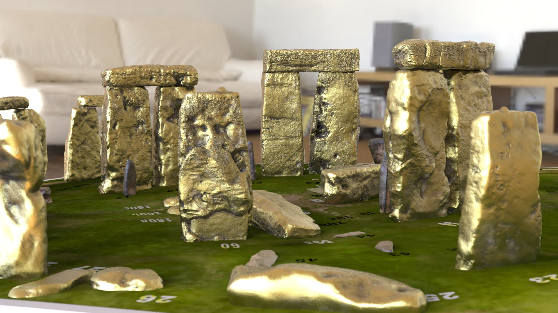 Buy Stonehenge Models: Old brass sarsens with rusted iron bluestones Stonehenge model replica on grass decal bass numbered stones.65  - 200th scale pick n mix -