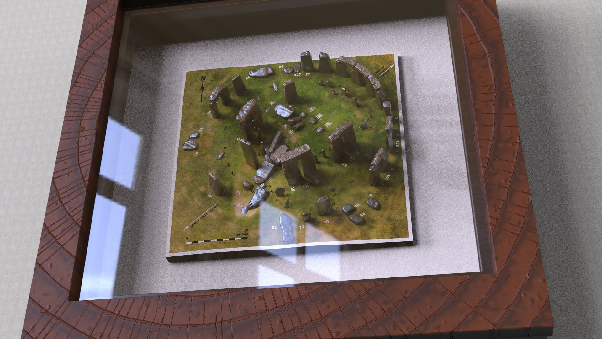 Buy Stonehenge Models: Rusted iron on grass Stonehenge model replica framed mounted and glazed 001  - 200th scale pick n mix -