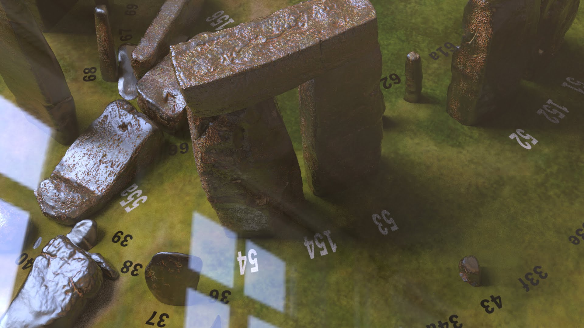 Buy Stonehenge Models: Rusted iron on grass Stonehenge model replica framed mounted and glazed 005  - 200th scale pick n mix -