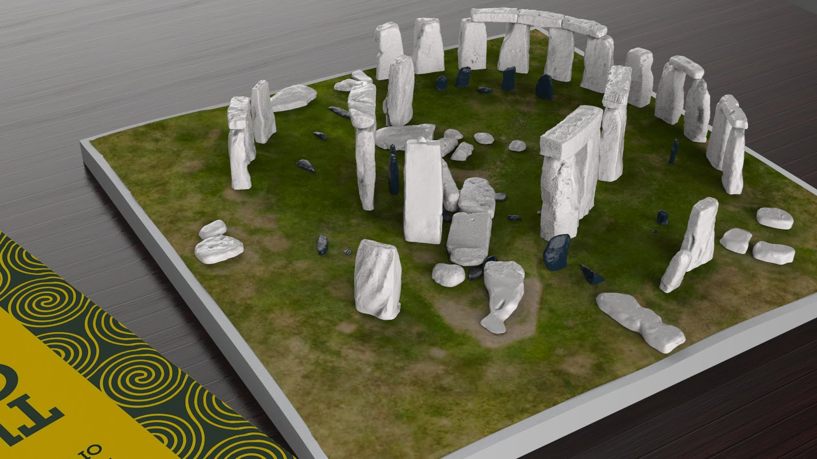 Buy Stonehenge Models: Stonehenge model replica at 200th scale on plain grass with parch marks of missing stones off white sarsens and iron blue bluestones 195 x 195 mm or 7 x 7 inches square 001  - 200th scale pick n mix -