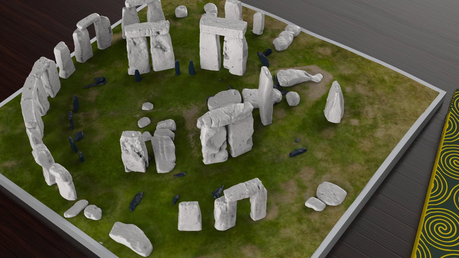 Buy Stonehenge Models: Stonehenge model replica at 200th scale on plain grass with parch marks of missing stones off white sarsens and iron blue bluestones 195 x 195 mm or 7 x 7 inches square 002  - 200th scale pick n mix -