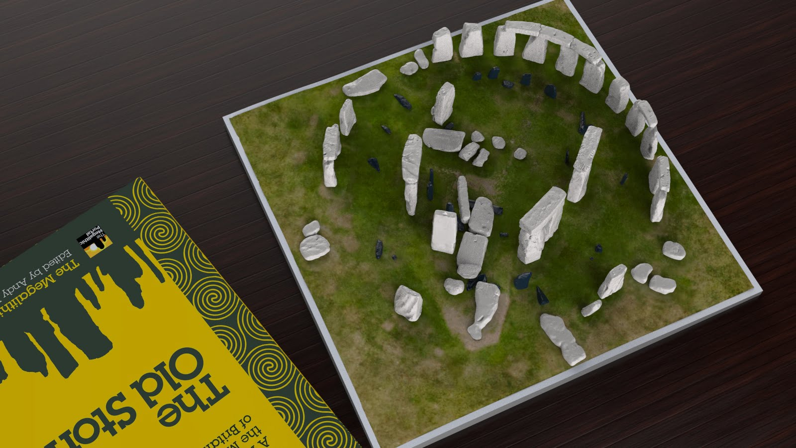 Buy Stonehenge Models: Stonehenge model replica at 200th scale on plain grass with parch marks of missing stones off white sarsens and iron blue bluestones 195 x 195 mm or 7 x 7 inches square 003  - Full set -