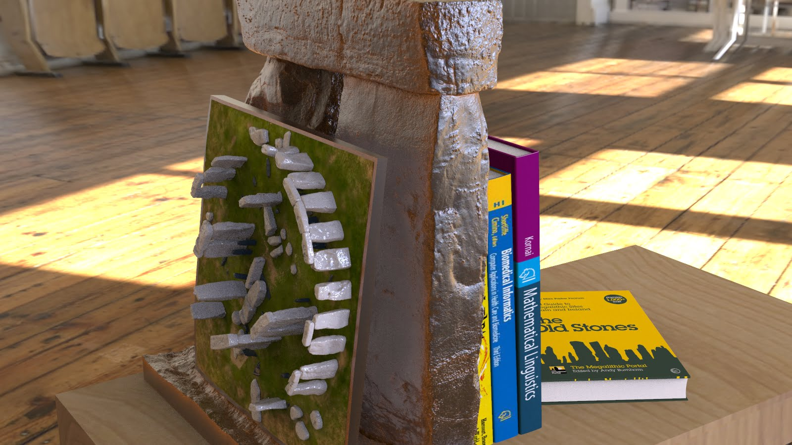 Buy Stonehenge Models: Stonehenge replica model bookend at 26th scale in rusted patina cold cast iron with lean to detachable full model at 200th scale 006  - 24th scale bookend with 200th full model -