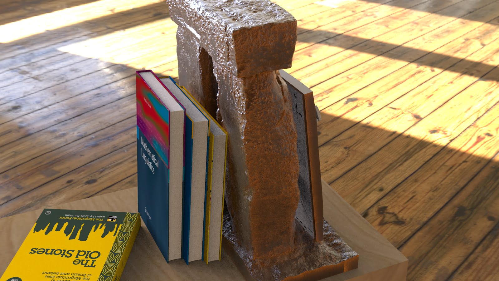 Buy Stonehenge Models: Stonehenge replica model bookend at 26th scale in rusted patina cold cast iron with lean to detachable full model at 200th scale 007  - 24th scale bookend with 200th full model -