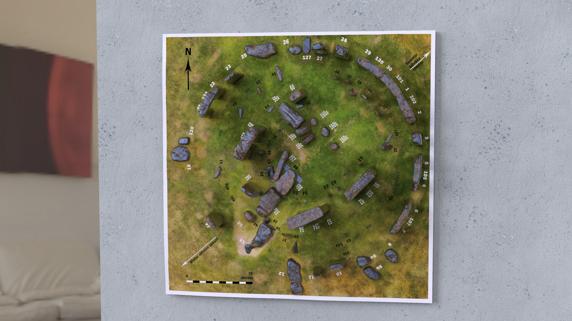 Buy Stonehenge Models: Unframed simply wall mounted Stonehenge replica model 200th scale 195 x 195 mm square rusty iron sarsens and bluestones Camera 1.71  - 200th scale pick n mix -