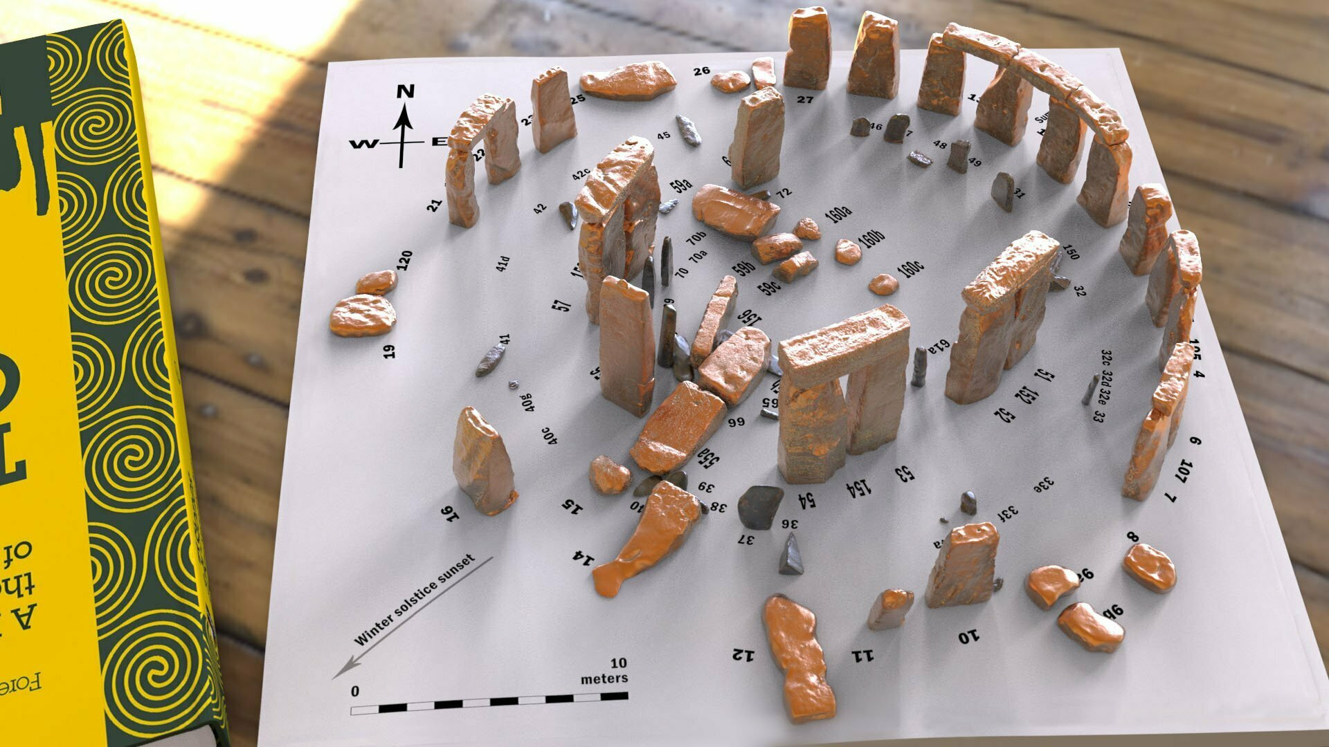 Buy Stonehenge Models: Verdigris copper Stonehenge replica models at 200th scale on plain white map with numbered stones accurate and highly detailed 008  - 200th scale pick n mix -