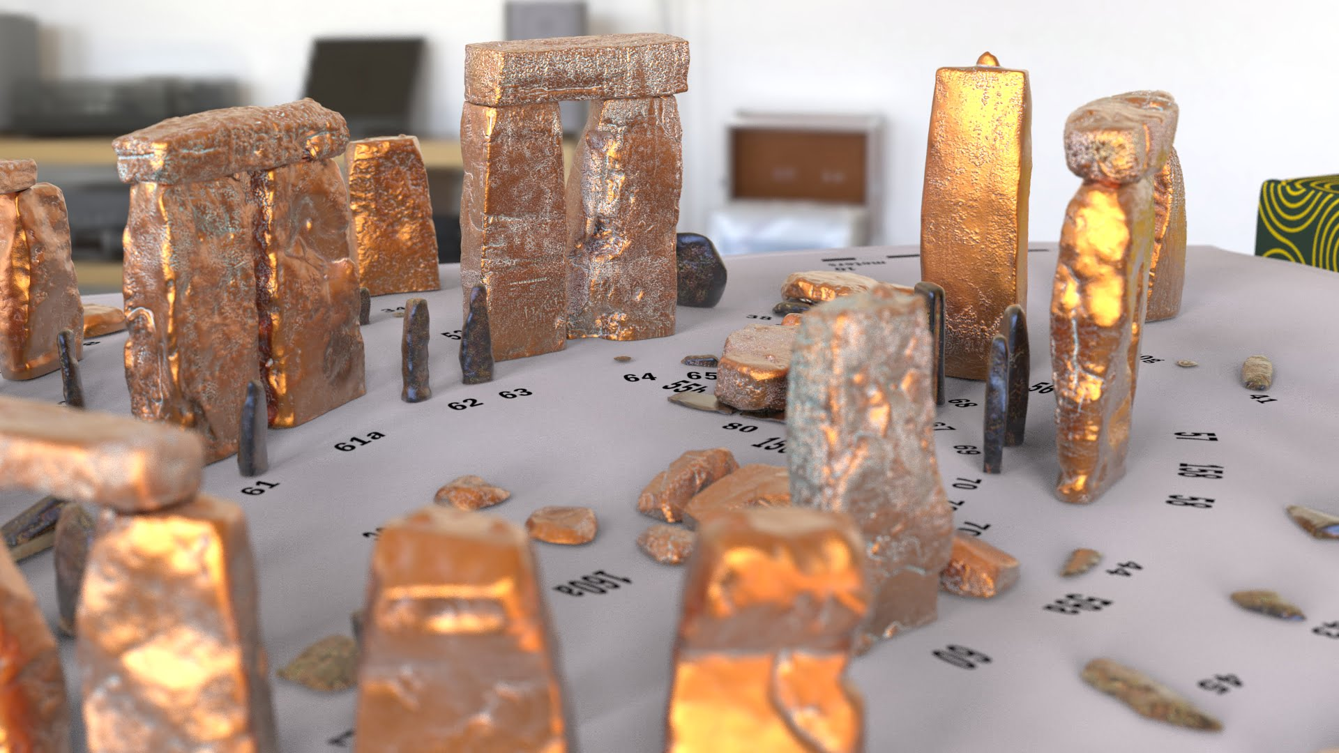 Buy Stonehenge Models: Verdigris copper Stonehenge replica models at 200th scale on plain white map with numbered stones accurate and highly detailed 009  - 200th scale pick n mix -