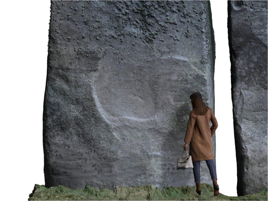 Buy Stonehenge Models: with lady figure 1024x768  - Trilithon 1, Stone 52 outside - Trilithon 1, Stone 52 outside